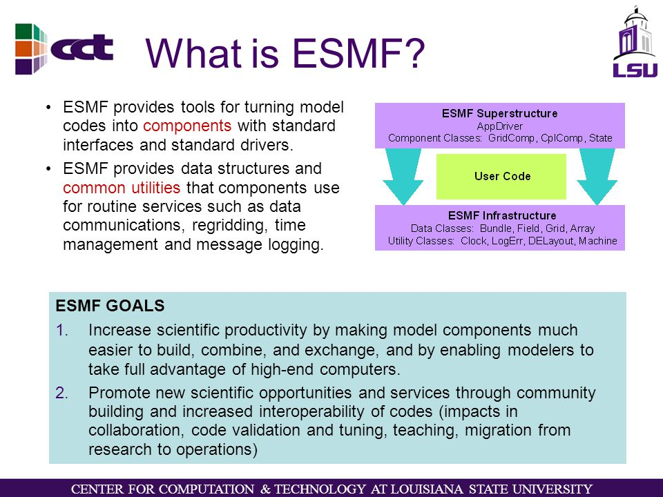 CENTER FOR COMPUTATION & TECHNOLOGY AT LOUISIANA STATE UNIVERSITY What is ESMF.