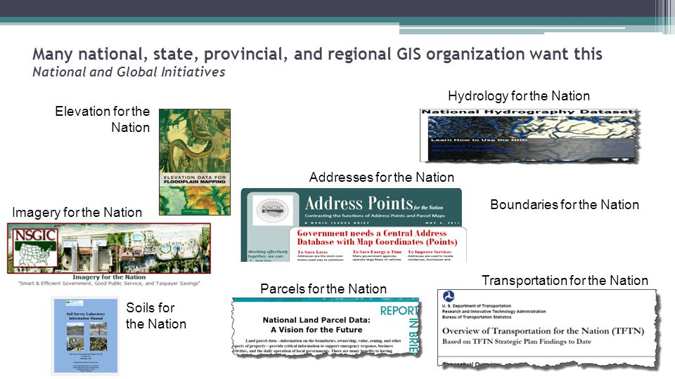 Many national, state, provincial, and regional GIS organization want this National and Global Initiatives Addresses for the Nation Elevation for the Nation Imagery for the Nation Parcels for the Nation Hydrology for the Nation Soils for the Nation Transportation for the Nation Boundaries for the Nation