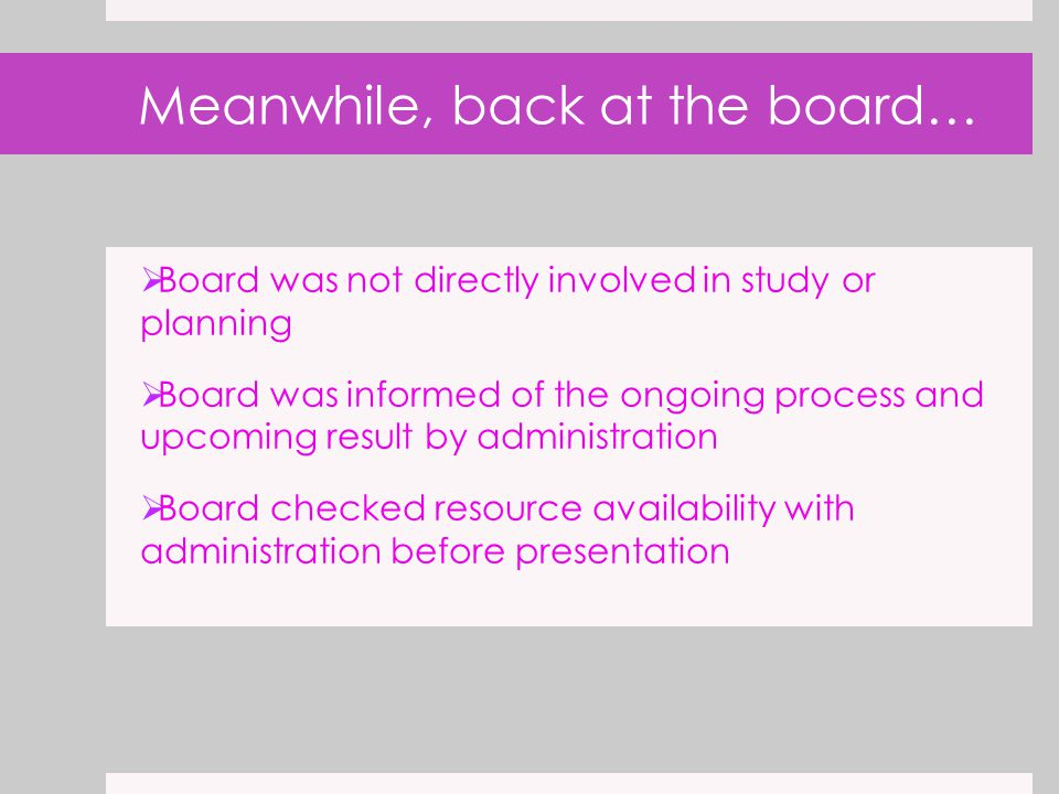 Meanwhile, back at the board…  Board was not directly involved in study or planning  Board was informed of the ongoing process and upcoming result b