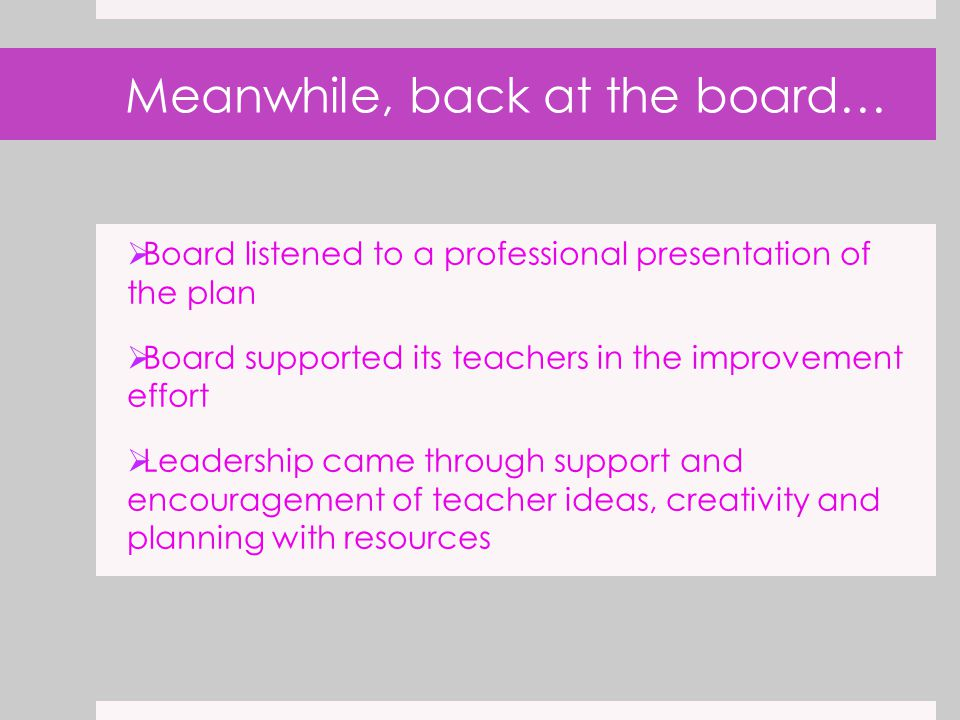 Meanwhile, back at the board…  Board listened to a professional presentation of the plan  Board supported its teachers in the improvement effort  Leadership came through support and encouragement of teacher ideas, creativity and planning with resources