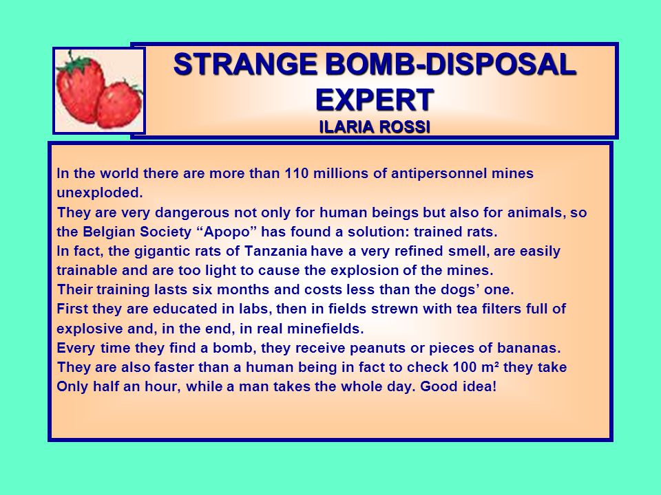 STRANGE BOMB-DISPOSAL EXPERT ILARIA ROSSI In the world there are more than 110 millions of antipersonnel mines unexploded. They are very dangerous not