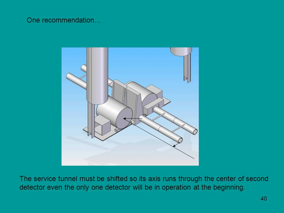 40 One recommendation… The service tunnel must be shifted so its axis runs through the center of second detector even the only one detector will be in operation at the beginning.