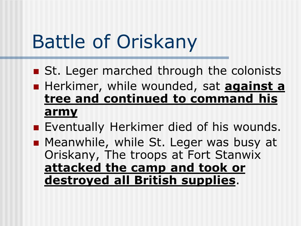 Battle of Oriskany St.