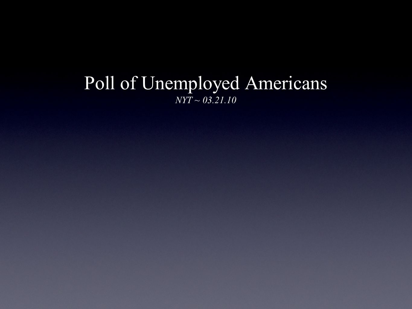 Poll of Unemployed Americans NYT ~ 03.21.10