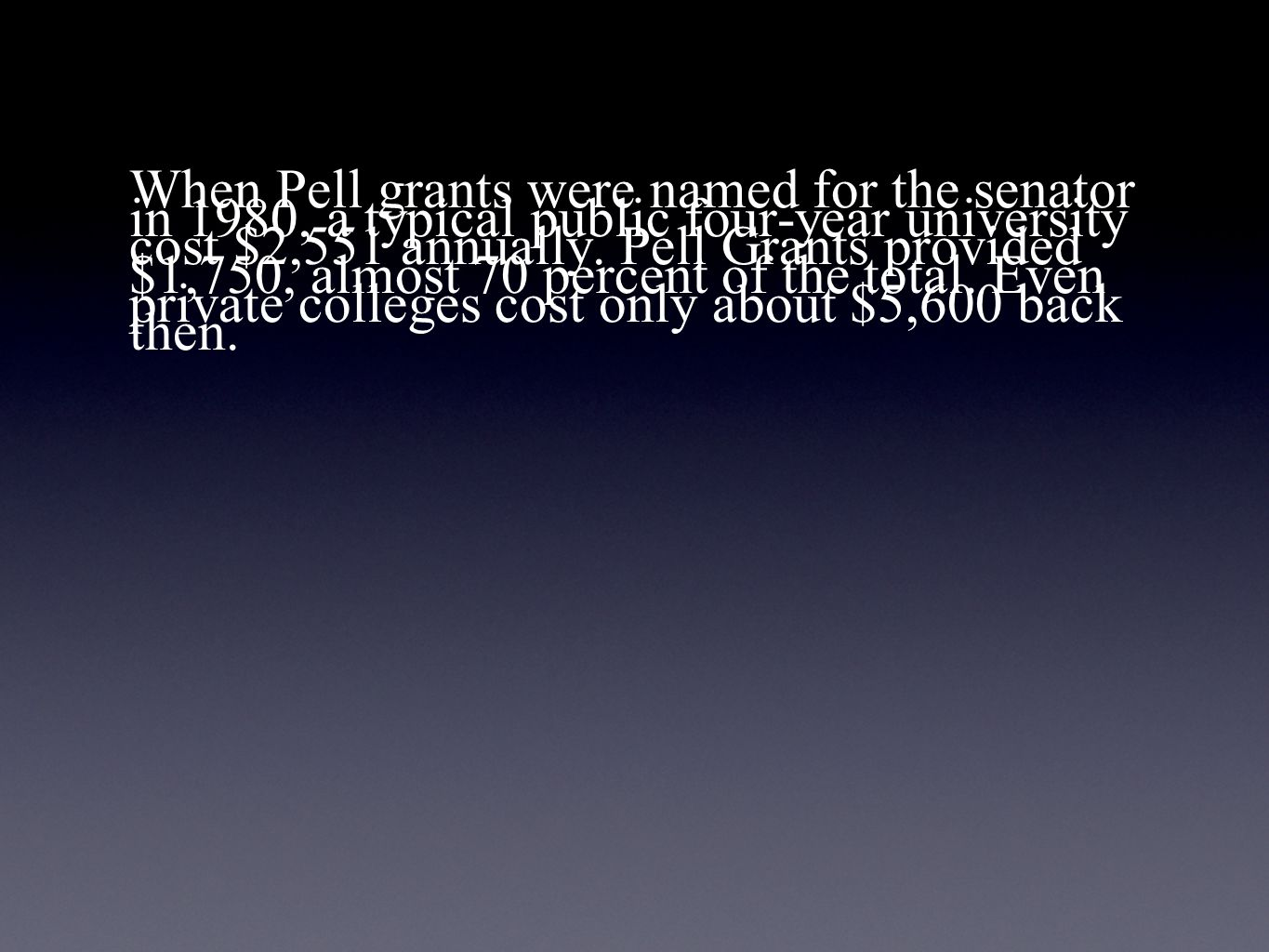 When Pell grants were named for the senator in 1980, a typical public four-year university cost $2,551 annually.