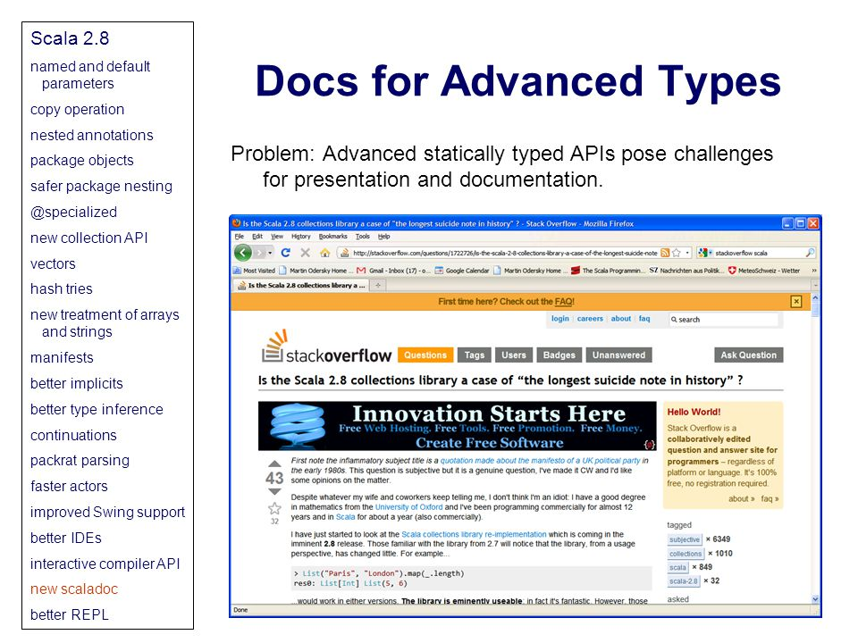 Docs for Advanced Types Problem: Advanced statically typed APIs pose challenges for presentation and documentation.