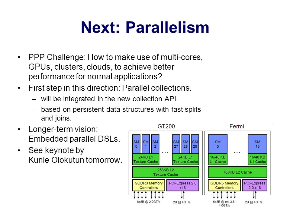 Next: Parallelism PPP Challenge: How to make use of multi-cores, GPUs, clusters, clouds, to achieve better performance for normal applications.
