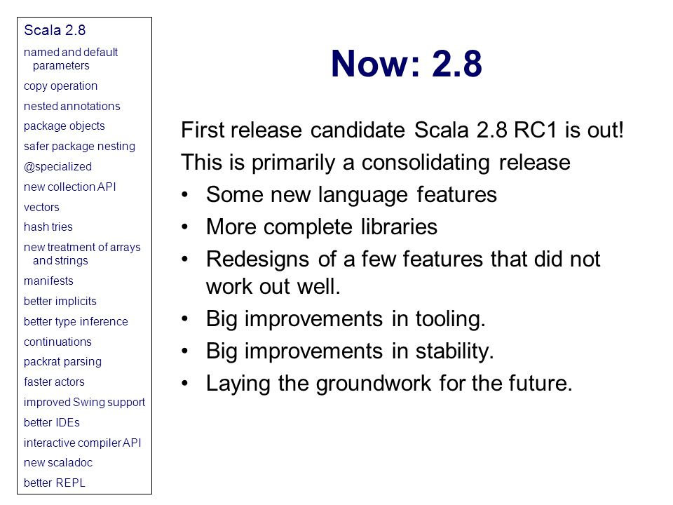 Now: 2.8 First release candidate Scala 2.8 RC1 is out.