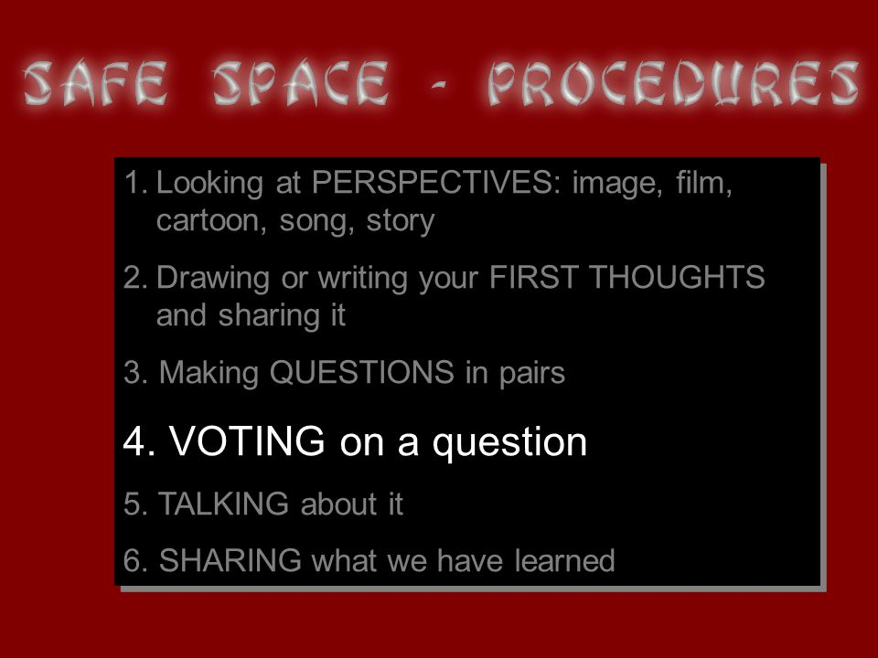 1.Looking at PERSPECTIVES: image, film, cartoon, song, story 2.Drawing or writing your FIRST THOUGHTS and sharing it 3.