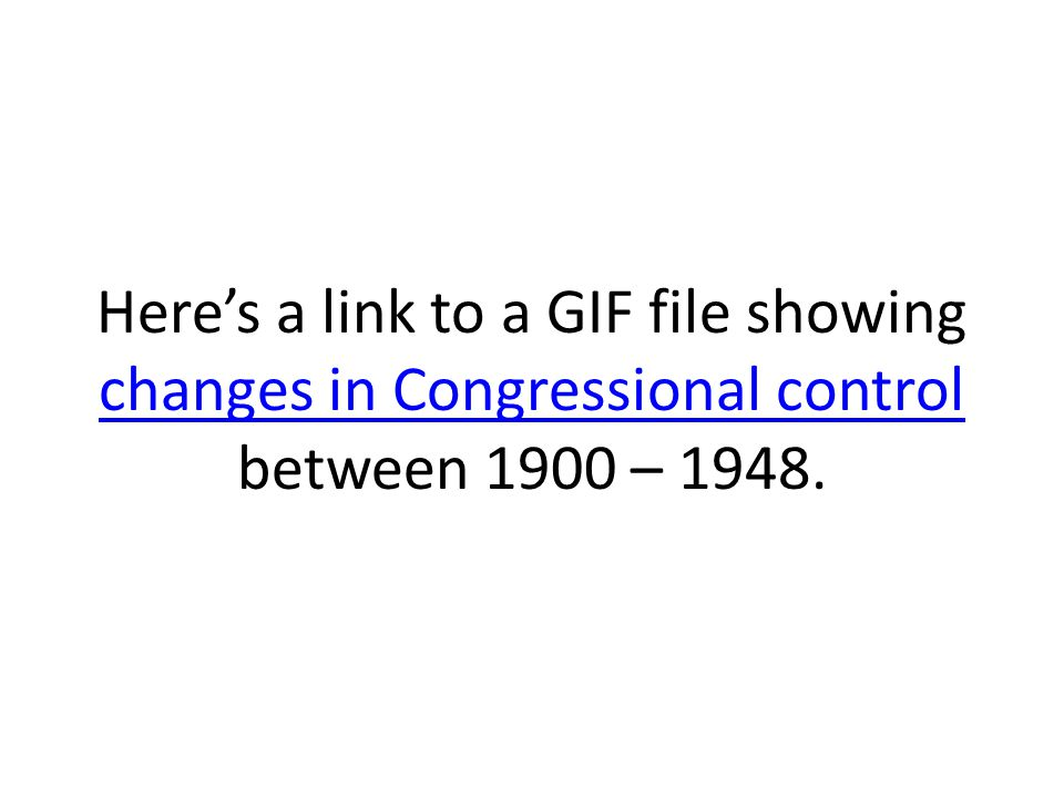 Here's a link to a GIF file showing changes in Congressional control between 1900 – 1948. changes in Congressional control