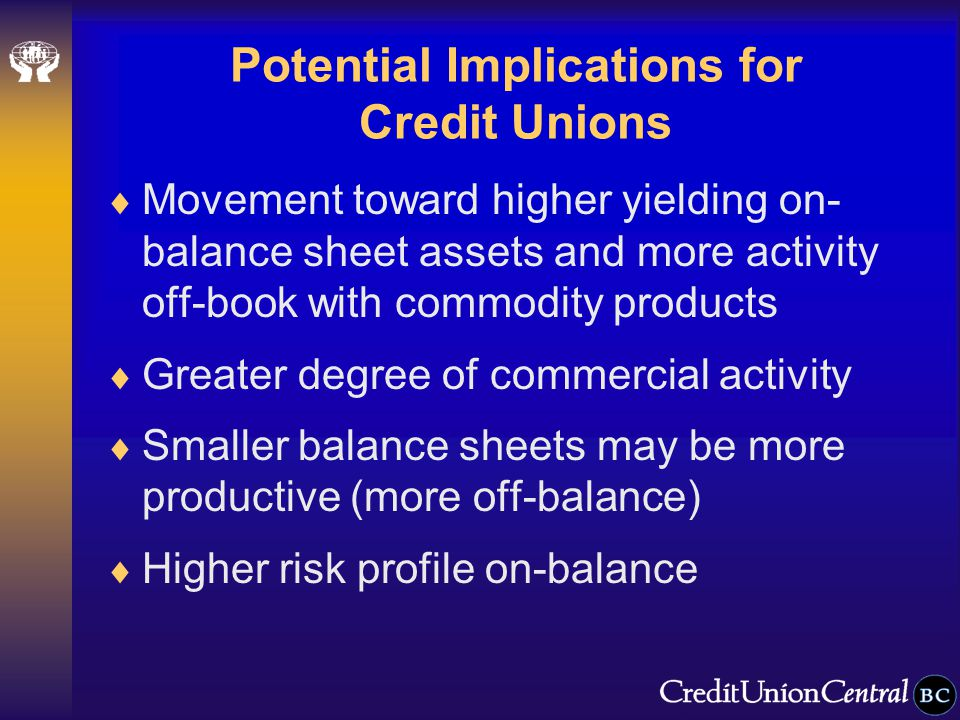 Potential Implications for Credit Unions  Movement toward higher yielding on- balance sheet assets and more activity off-book with commodity products  Greater degree of commercial activity  Smaller balance sheets may be more productive (more off-balance)  Higher risk profile on-balance