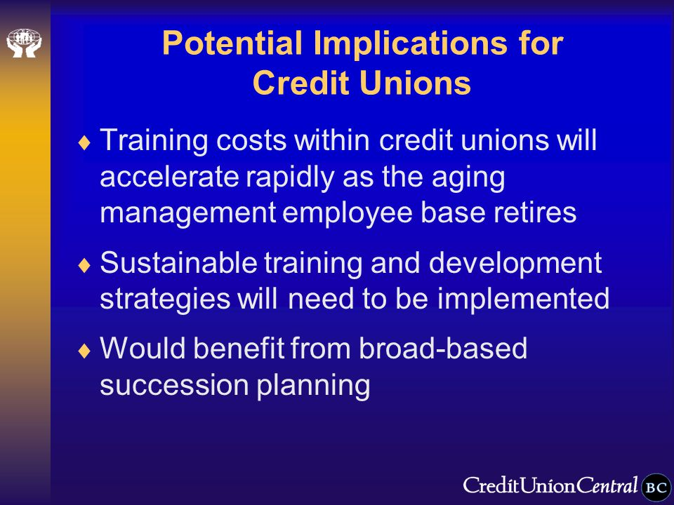 Potential Implications for Credit Unions  Training costs within credit unions will accelerate rapidly as the aging management employee base retires  Sustainable training and development strategies will need to be implemented  Would benefit from broad-based succession planning