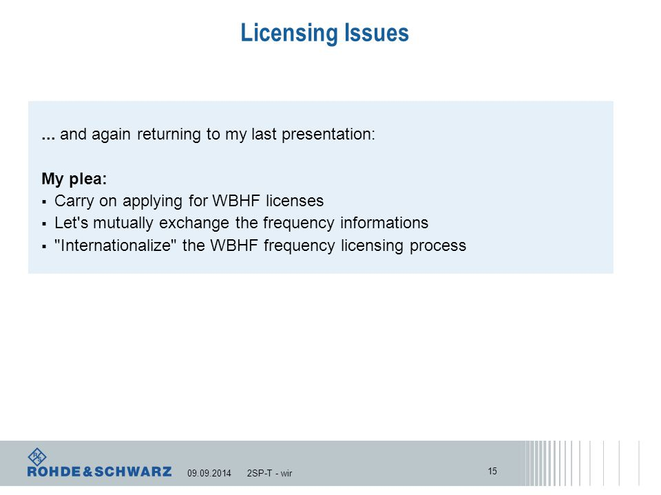 Licensing Issues...