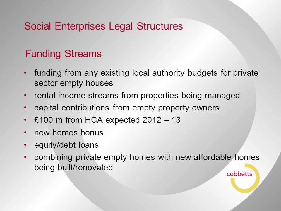 Funding Streams funding from any existing local authority budgets for private sector empty houses rental income streams from properties being managed capital contributions from empty property owners £100 m from HCA expected 2012 – 13 new homes bonus equity/debt loans combining private empty homes with new affordable homes being built/renovated Social Enterprises Legal Structures