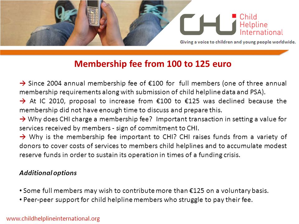 Membership fee from 100 to 125 euro → Since 2004 annual membership fee of €100 for full members (one of three annual membership requirements along wit