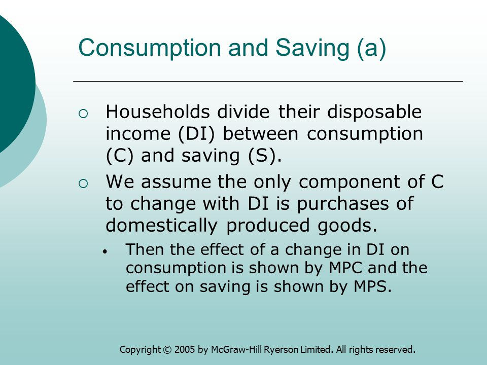Copyright © 2005 by McGraw-Hill Ryerson Limited. All rights reserved. Consumption and Saving (a)  Households divide their disposable income (DI) betw