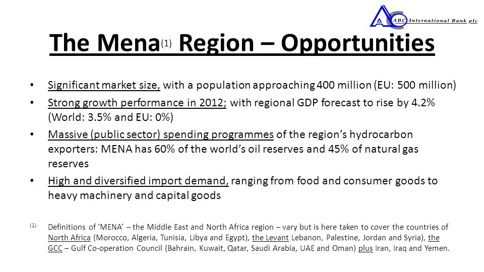 The Mena (1) Region – Opportunities Significant market size, with a population approaching 400 million (EU: 500 million) Strong growth performance in