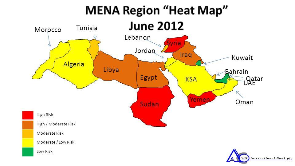 Algeria Tunisia Libya Egypt Sudan KSA Jordan Iraq Syria Lebanon Yemen Oman UAE Bahrain Qatar Kuwait High Risk High / Moderate Risk Moderate Risk Moderate / Low Risk Low Risk Morocco Tunisia