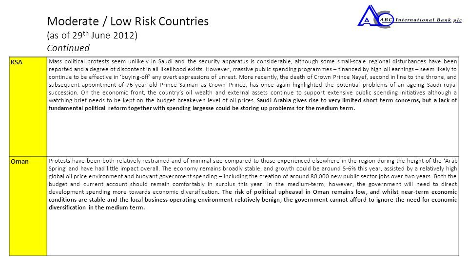 Moderate / Low Risk Countries (as of 29 th June 2012) Continued KSA Mass political protests seem unlikely in Saudi and the security apparatus is considerable, although some small-scale regional disturbances have been reported and a degree of discontent in all likelihood exists.