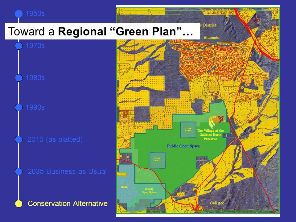 "1950s 1970s 1980s 1990s 2035 Business as Usual 2010 (as platted) Conservation Alternative Toward a Regional ""Green Plan""…"