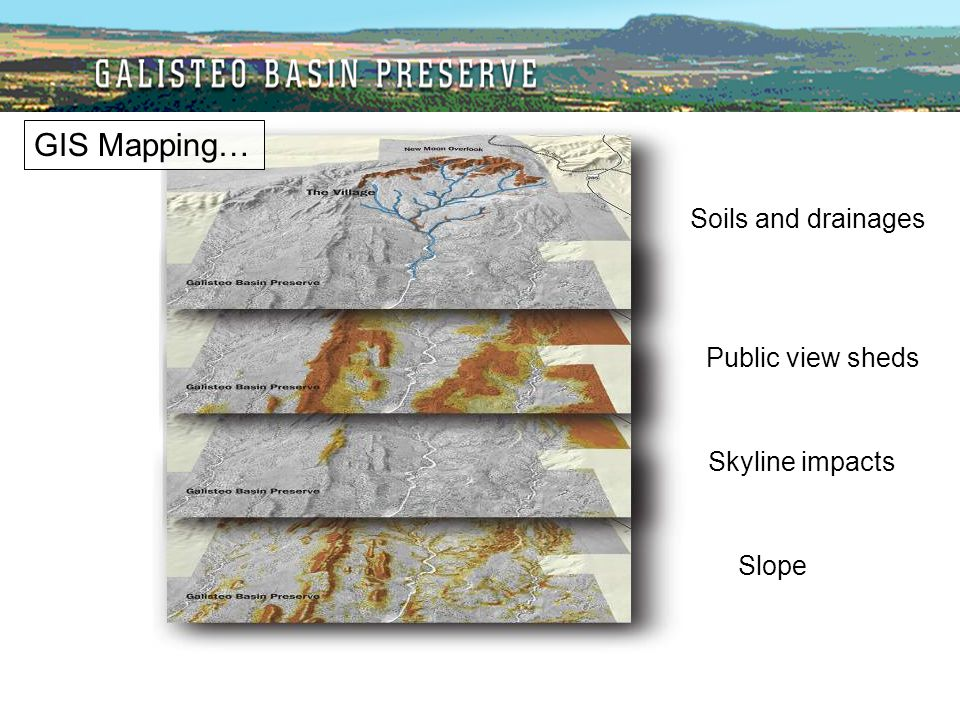 Soils and drainages Public view sheds Skyline impacts Slope GIS Mapping…