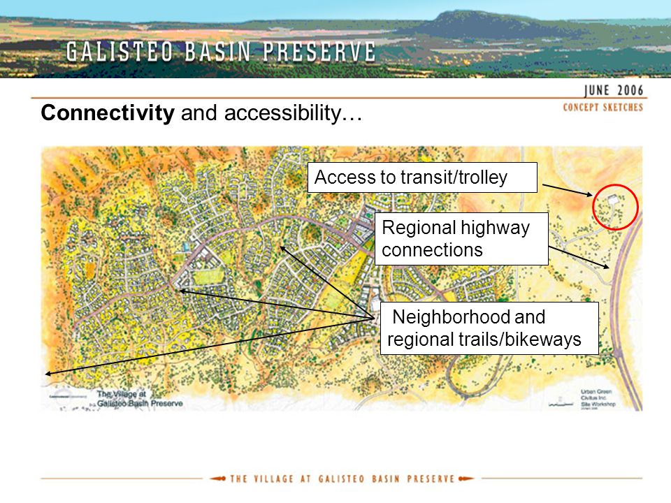 Connectivity and accessibility… Neighborhood and regional trails/bikeways Access to transit/trolley Regional highway connections