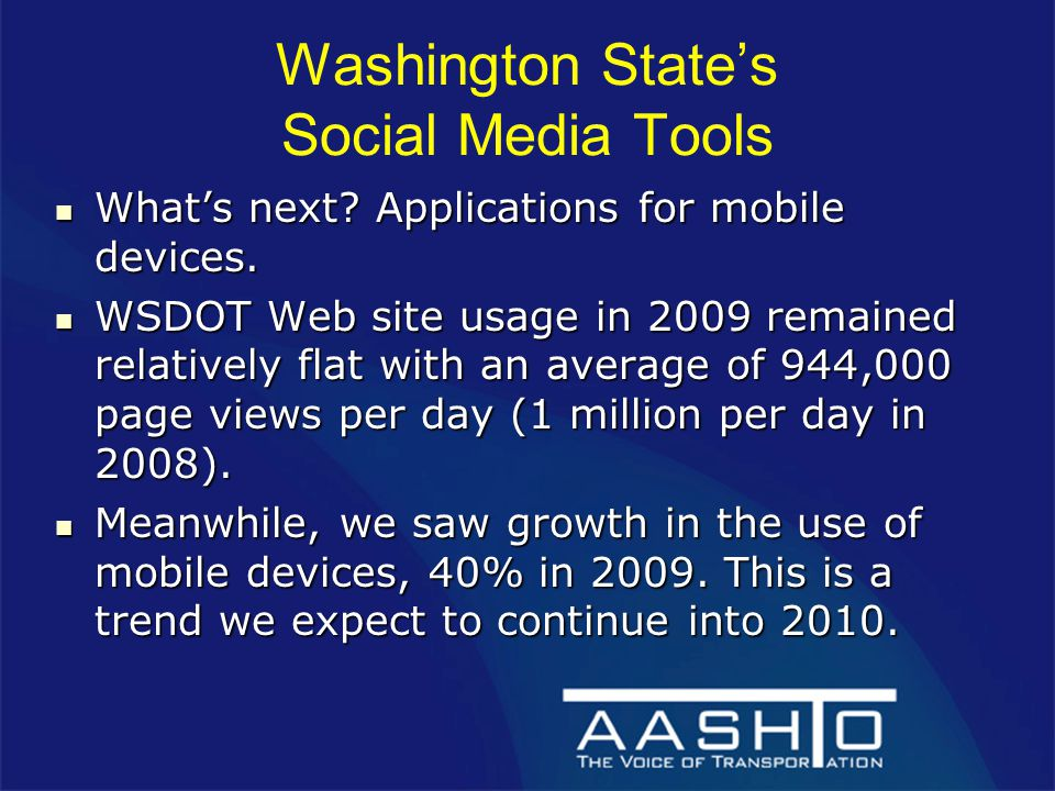 Washington State's Social Media Tools What's next.
