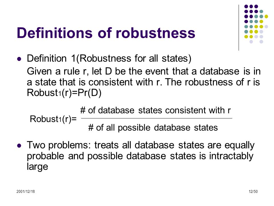 2001/12/1812/50 Definitions of robustness Definition 1(Robustness for all states) Given a rule r, let D be the event that a database is in a state tha