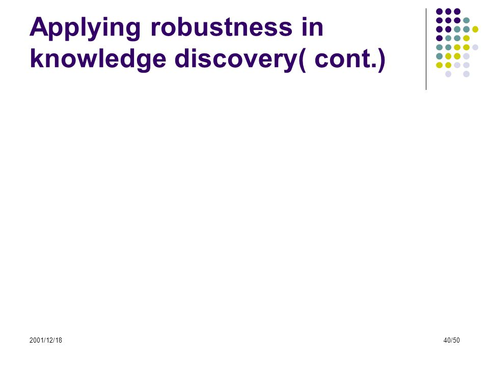 2001/12/1840/50 Applying robustness in knowledge discovery( cont.)