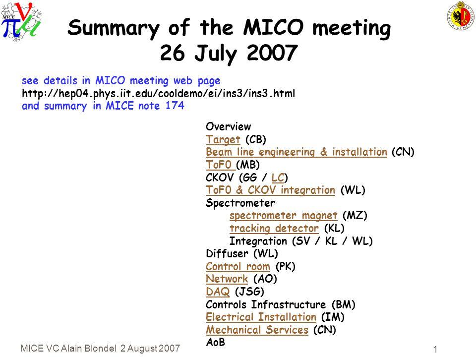 MICE VC Alain Blondel 2 August 2007 2 Target (Sheffield; C.