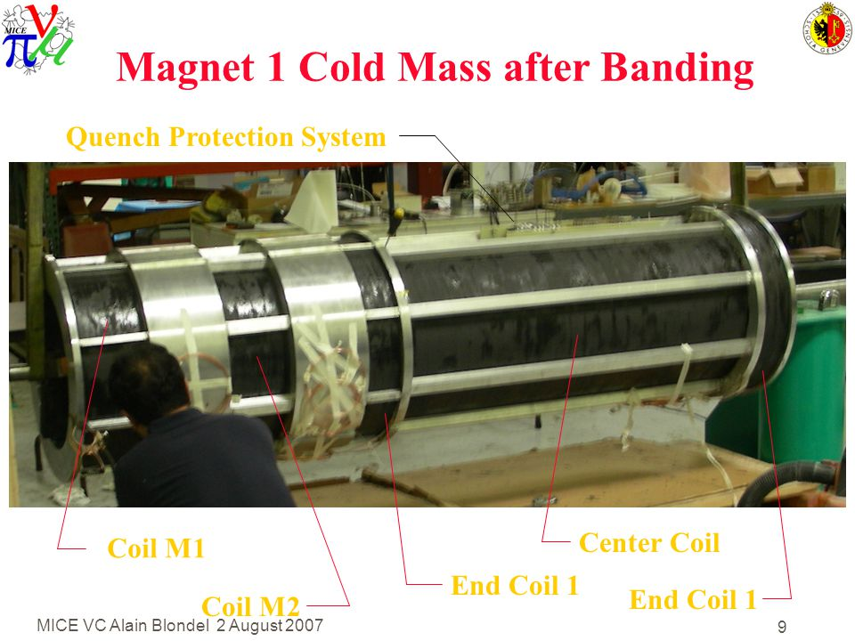 MICE VC Alain Blondel 2 August 2007 9 Magnet 1 Cold Mass after Banding Coil M1 Coil M2 End Coil 1 Center Coil End Coil 1 Quench Protection System
