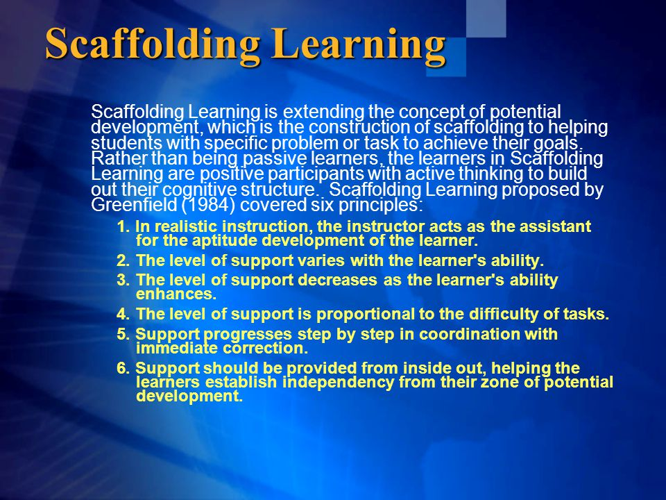 Scaffolding Learning Scaffolding Learning is extending the concept of potential development, which is the construction of scaffolding to helping stude