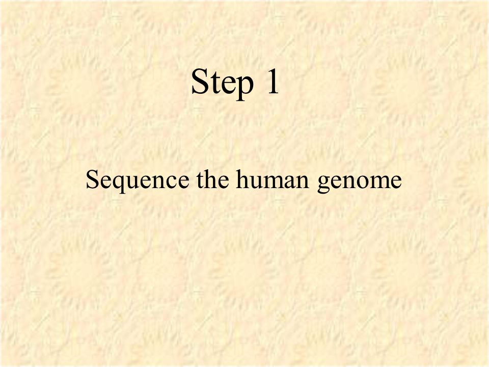 Step 1 Sequence the human genome