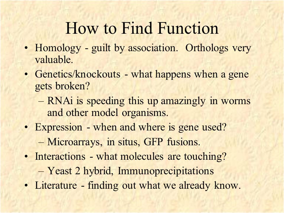 How to Find Function Homology - guilt by association.