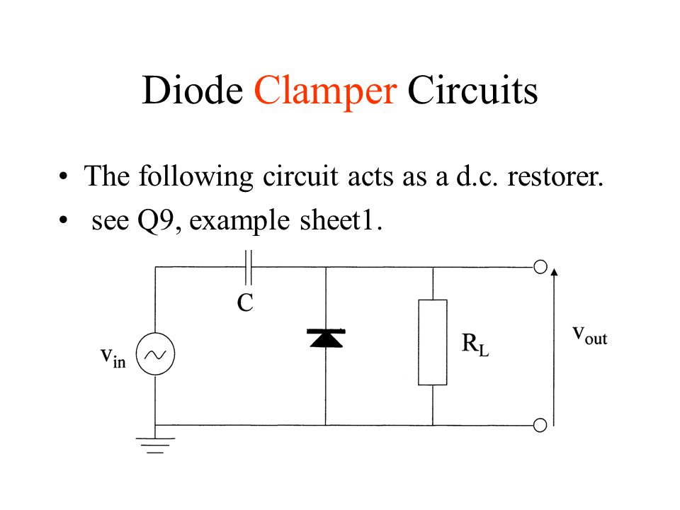 Diode Clamper Circuits The following circuit acts as a d.c. restorer. see Q9, example sheet1.