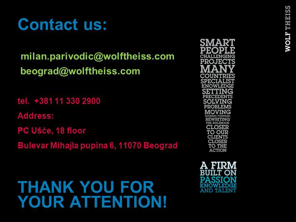 Contact us: milan.parivodic@wolftheiss.com beograd@wolftheiss.com tel.