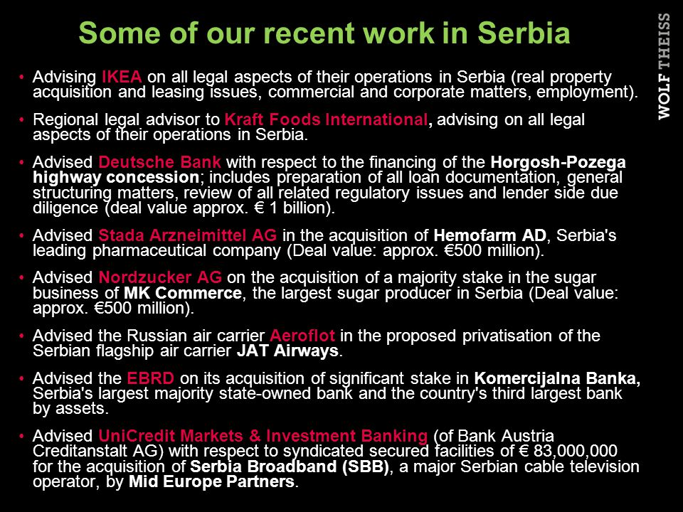 FTA with the Russian Federation FTA with the Russian Federation has been applied since August 2000 Serbia is the only country outside the CIS that has FTA with RF (market of 147 mill.