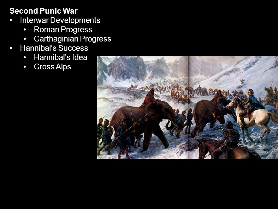 Second Punic War Interwar Developments Roman Progress Carthaginian Progress Hannibal's Success Hannibal's Idea Cross Alps