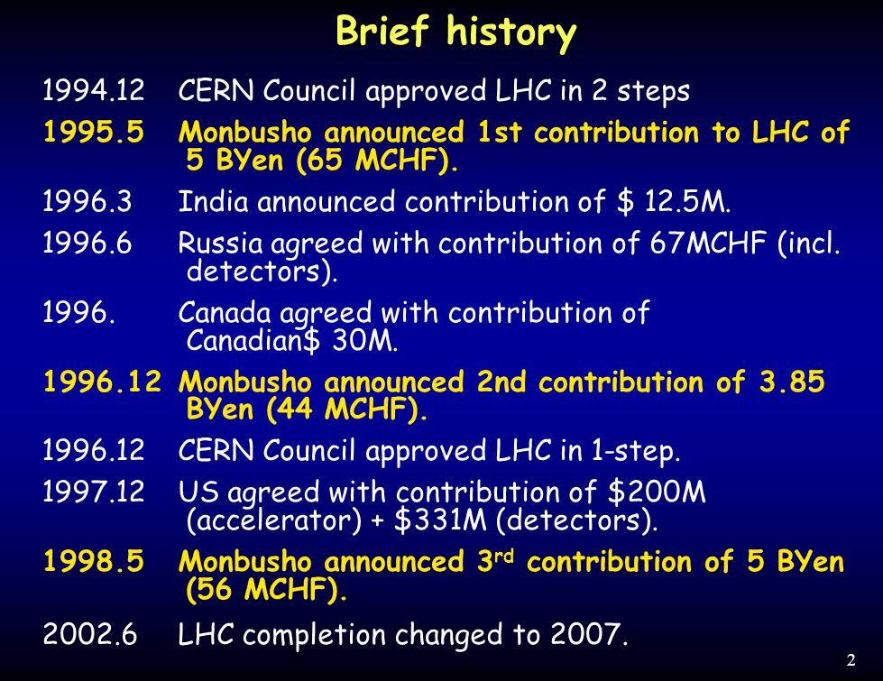 2 1994.12CERN Council approved LHC in 2 steps 1995.5Monbusho announced 1st contribution to LHC of 5 BYen (65 MCHF). 1996.3 India announced contributio