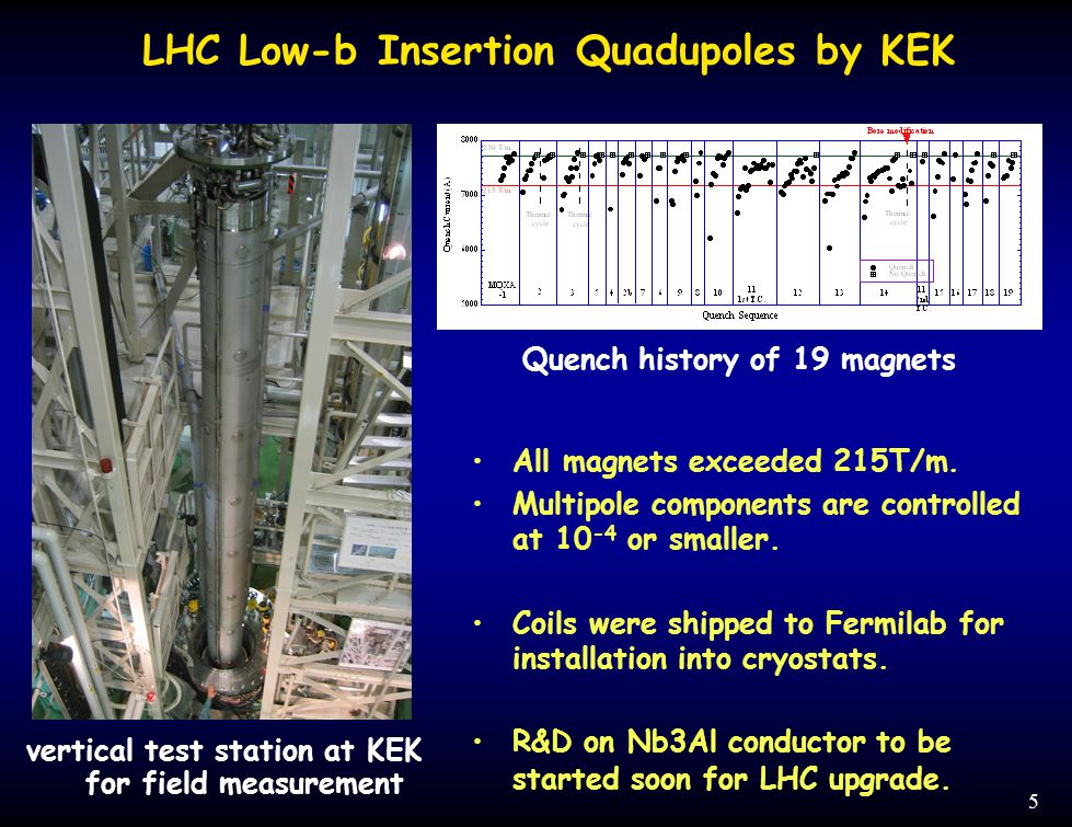 5 LHC Low-b Insertion Quadupoles by KEK vertical test station at KEK for field measurement Quench history of 19 magnets All magnets exceeded 215T/m.