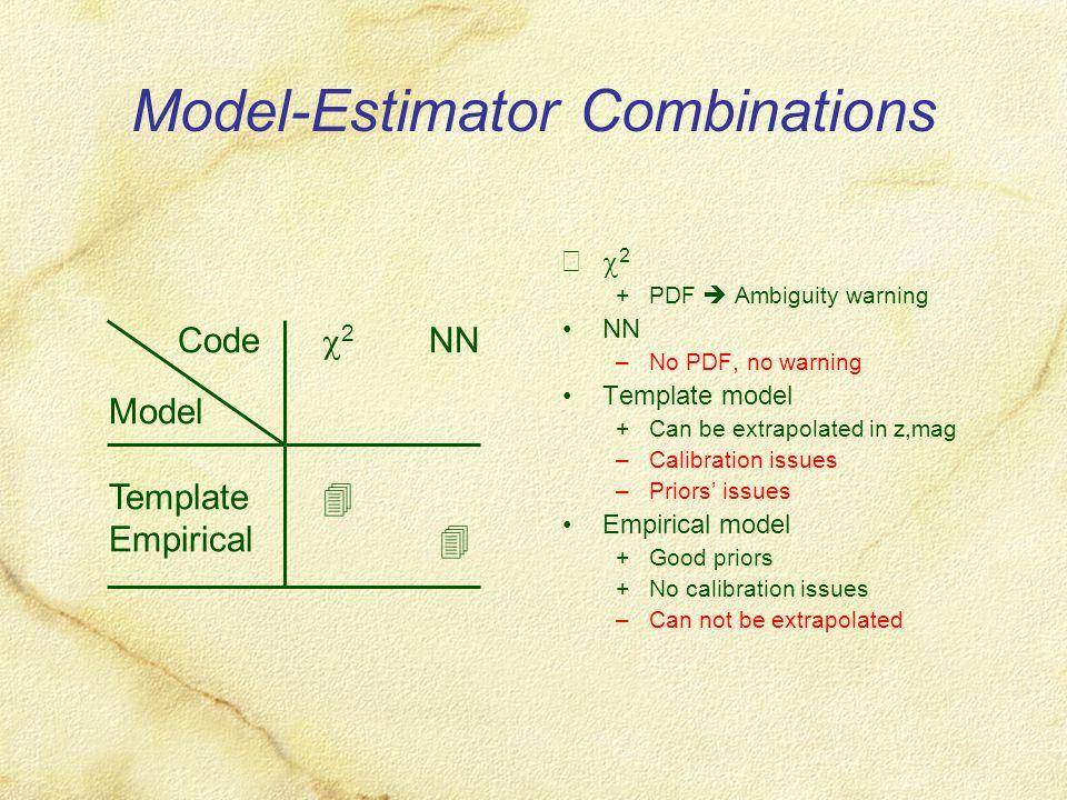 Model-Estimator Combinations Code  2 NN Model Template  Empirical   2 +PDF  Ambiguity warning NN –No PDF, no warning Template model +Can be extr