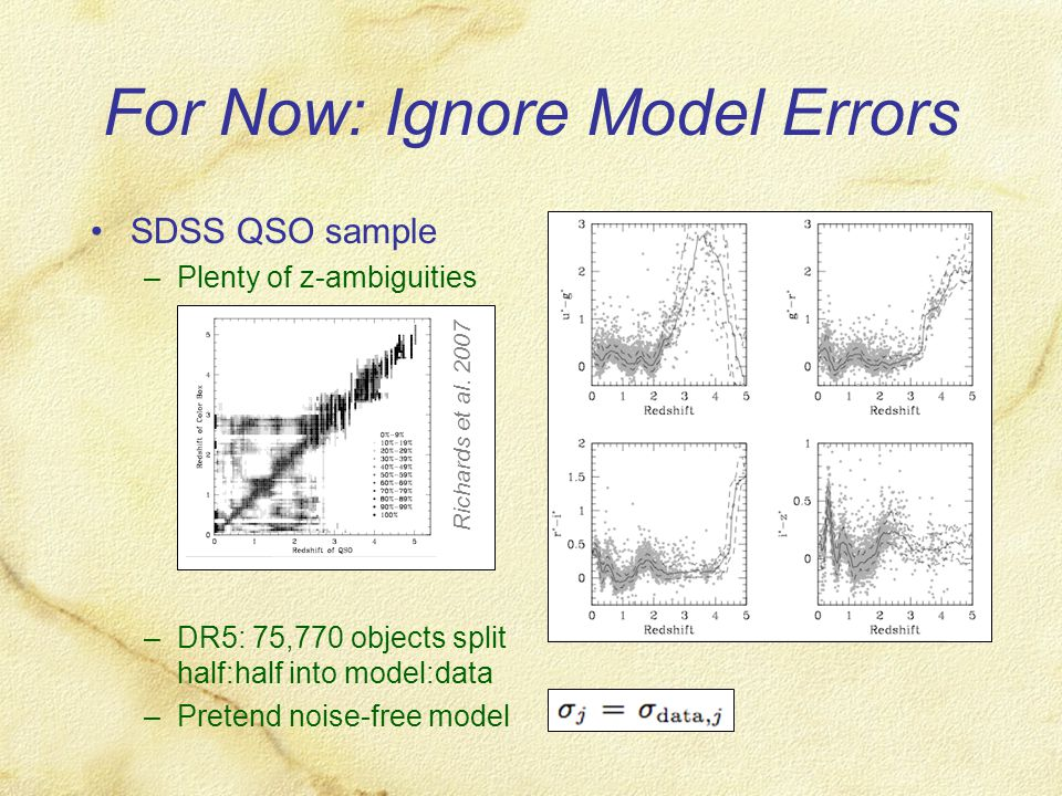 For Now: Ignore Model Errors SDSS QSO sample –Plenty of z-ambiguities –DR5: 75,770 objects split half:half into model:data –Pretend noise-free model Richards et al.