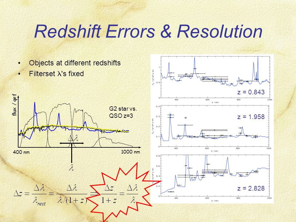 Redshift Errors & Resolution Objects at different redshifts Filterset s fixed z = 0.843 z = 1.958 z = 2.828 400 nm 1000 nm flux / qef G2 star vs.