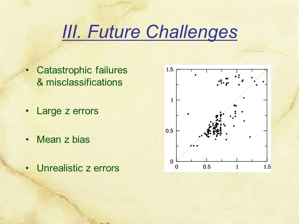 III. Future Challenges Catastrophic failures & misclassifications Large z errors Mean z bias Unrealistic z errors