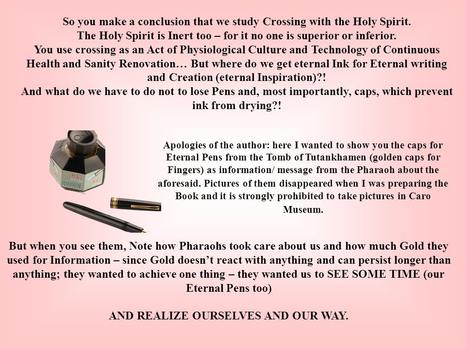 So you make a conclusion that we study Crossing with the Holy Spirit.