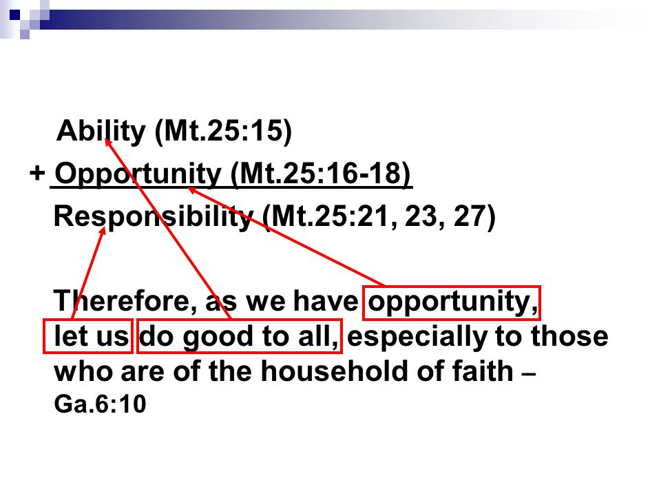 Ability (Mt.25:15) + Opportunity (Mt.25:16-18) Responsibility (Mt.25:21, 23, 27) Therefore, as we have opportunity, let us do good to all, especially to those who are of the household of faith – Ga.6:10