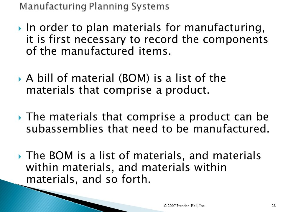  In order to plan materials for manufacturing, it is first necessary to record the components of the manufactured items.  A bill of material (BOM) i