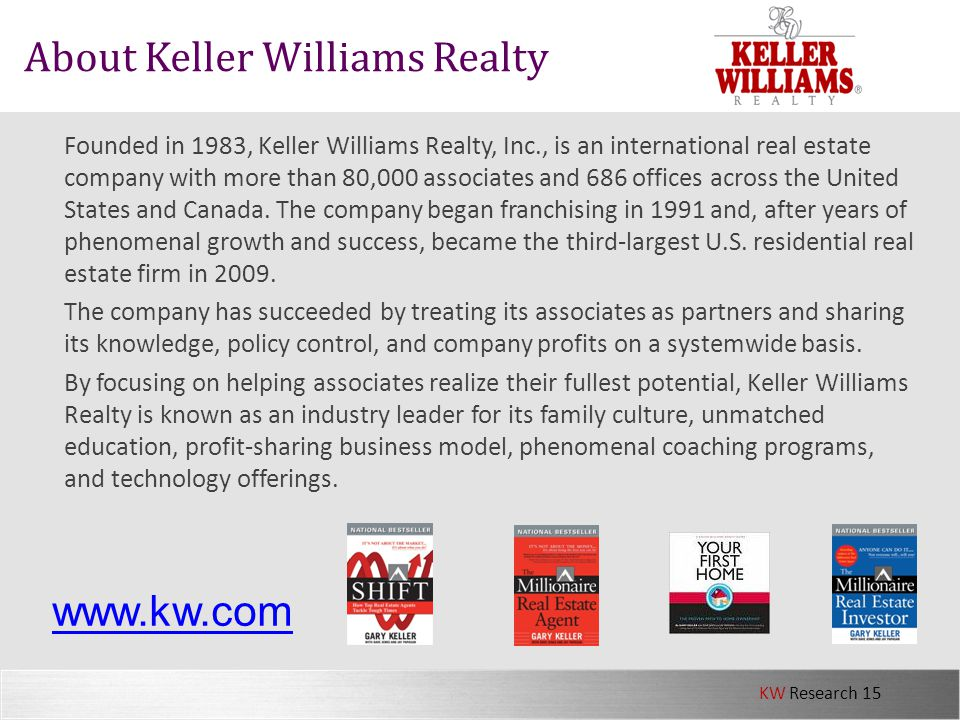 KW Research 15 About Keller Williams Realty Founded in 1983, Keller Williams Realty, Inc., is an international real estate company with more than 80,0