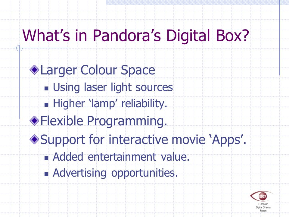 What's in Pandora's Digital Box? Larger Colour Space Using laser light sources Higher 'lamp' reliability. Flexible Programming. Support for interactiv