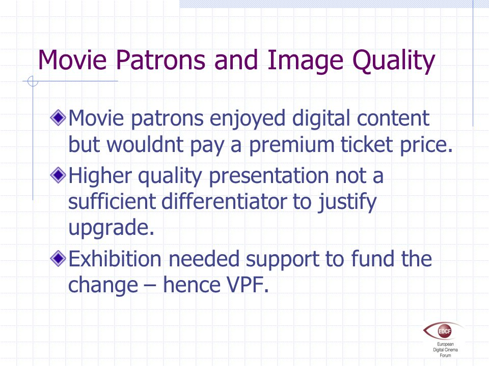 Movie Patrons and Image Quality Movie patrons enjoyed digital content but wouldnt pay a premium ticket price.